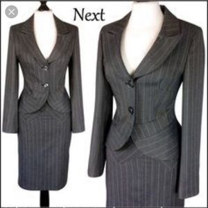 Liz Claiborne blazer skit suit grey pin stripe